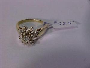 #3233-STUNNING DIAMOND CLUSTER 14K Y/W/Gold DRESS RING-APPRAISED $2,100.00 SELL-$525.00 Free Shipping & Layaway-Canada