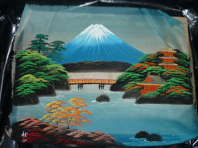 SIGNED-JAPAN SILK SCREEN VIBRANT PAINTING OF A MOUNTAIN-LAKE SCEANERY - UNFRAMED