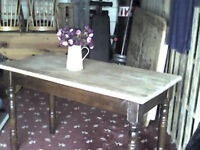 REAL OAK SCRUB TOP FARMHOUSE DINING TABLE [£60 IF COLLECTED ASAP]