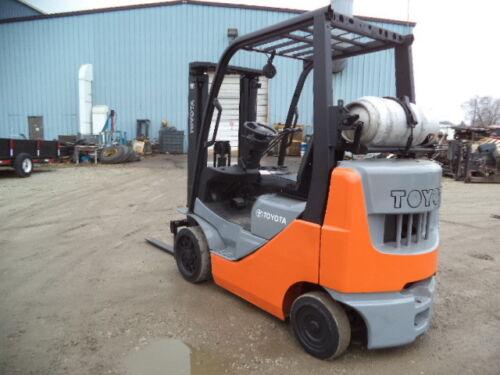 "2011 Toyota Model 8FGCU20, 4,000#, 4000# Cushion Tired Forklift, 118"" Lift"