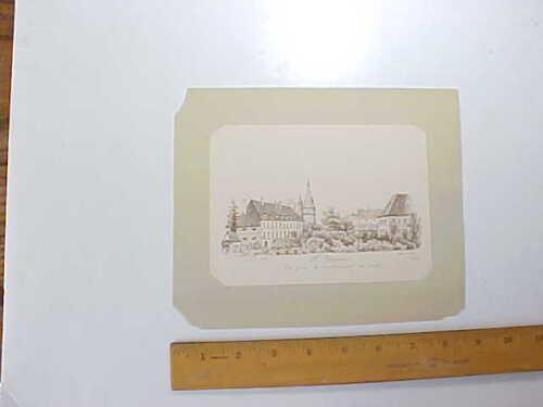 1886 CHATEAU DE ST. FARGEAU IN FRANCE MINIATURE FINE PEN & INK DRAWING BY F. R.