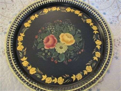 Antique Victorian Floral Hand Painted Gold Leaf Openwork Raised Rim Tole Tray