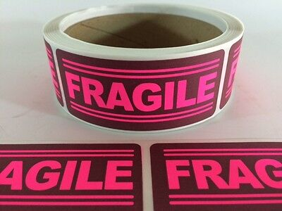 500 1x3 Fragile Labels Stickers Pink Shipping Supplies Office Products Fragile