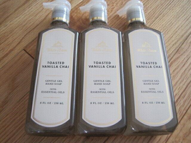 3 New Bath Body Works White Barn Gentle Gel Hand Soap - Toasted Vanilla Chai - $29.99