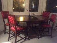 PRICE REDUCED. MUST SELL. BEAUTIFUL OAK DINING FOLDING DROP LEAF TABLE AND CHAIRS. OFFERS WELCOMED.