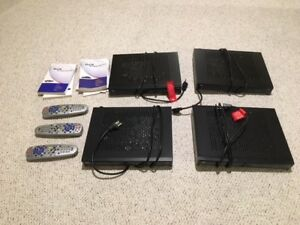 Bell dish, 4 receivers, 3 controllers, and manuals for sale.