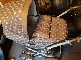 PRAM mamas & papas, with high chair, covers, baby bath,