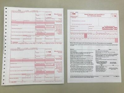 10 2018 Irs Tax Forms 1099-misc 10 Recipients 2 Forms 1096