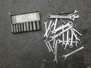 "ASSORTED WRENCHES &  1/2""  SQUARE DRIVE SOCKET SET"
