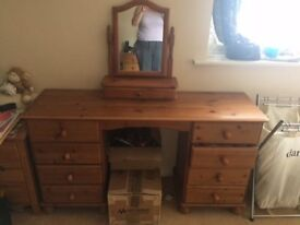 Pine Dressing Table with Drawers and Pine Mirror