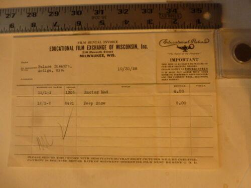 Movie Billhead-Educational Film 10/30/1928 Racing Mad-Al St John Estelle Bradley