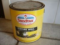 2 tins x 2.5 lts. Sandtex feature wall smooth masonry paint lemon zest