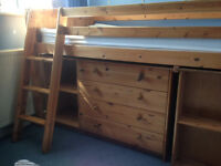 Midi Sleeper in antique pine, with 4 drawers, desk, ladder, shelves built in