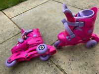 Pink adjustable skates - converts from 3 wheel to in-line - child size 9-12.