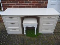 Quality White Dressing Table & Stool