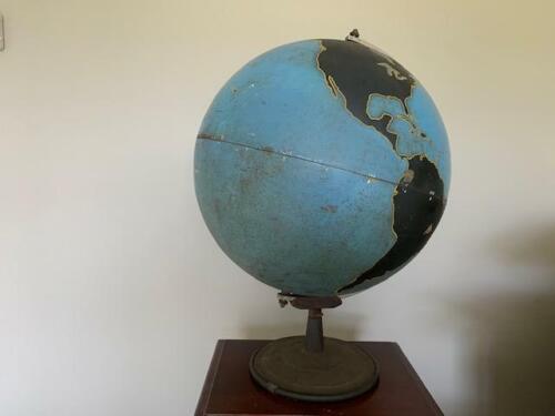 Vintage Military Aviation World Globe Denoyer Geppert Training Chalk Globe