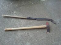 Big wood axe and branch pruner.