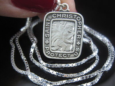 Sterling Silver St Christopher Antiqued Medal Pendant 18  Chain Necklace