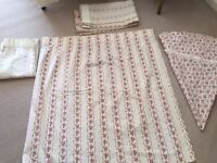 """Three Pairs of Curtains (L44"""" x W90"""" and 2 pairs L44"""" x 22"""") together with some coordinating fabric"""