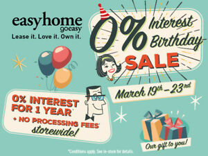 easyhome 0% Interest Birthday Sale – March 19th – March 23rd