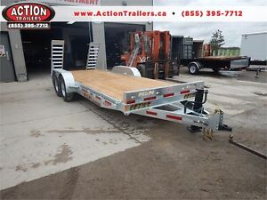 20' N&N GALVANIZED EQUIPMENT HAULER - 7 TON W/ STAND UP RAMPS!