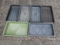 5 PLASTIC, NO HOLES, PROPAGATION TRAYS PLUS 1 WITH HOLES