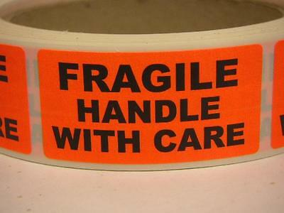 Fragile Handle With Care 1x2 Warning Stickers Labels Fluorescent Red 250rl