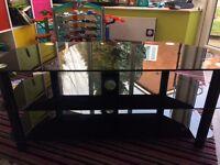 TV Stand - Black polished glass