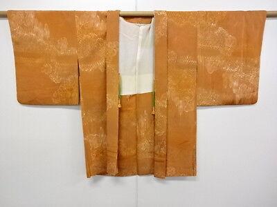 VINTAGE JAPANESE KIMONO, HAORI CRAFT MATERIAL,  NICE ORANGE COLOR, TREE  PATTERN