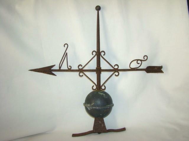 Antique Primitive FOLK ART Weathervane Arrow Lightning Rod, Roof Mount