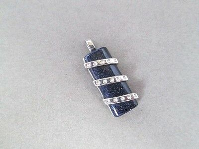 1.25 inch Pendant Slide Rectangle Blue Sandstone New .925 Sterling Silver Female Rectangle Slide Pendant