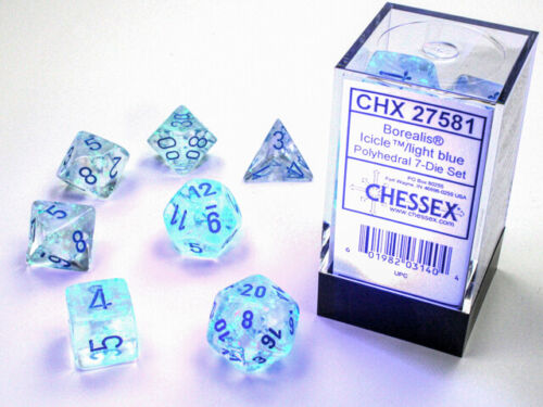 16mm 7 Die Polyhedral Dice Set - Chessex Borealis Luminary Icicle Light Blue RPG