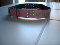 Girls pink leather belt size large (10/12) *Only worn once