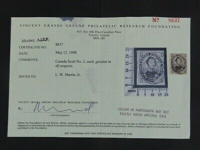 Nystamps Canada Stamp # 2 Used $2100 Almost 4 margins Greene Certificate u25xt