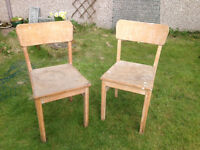Dining or Kitchen Chairs x 2 Wooden Vintage