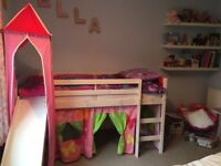 Cabin Bed Mid Sleeper White Pine Kids Bed with Slide & Princess Tower