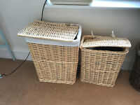 Set of two wicker laundry baskets