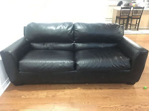 2 Black Bonded Leather couches