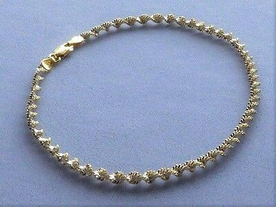 "10"" ITALY 925 STERLING SILVER/GOLD ANKLE BRACELET-TWISTED SHIMMERY-TWO TONE"