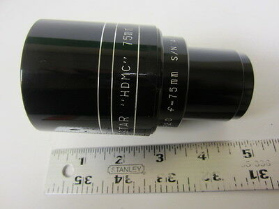 NEW! Westar 75mm FL Speed F2.0 35mm Cine Projector Lens 62.5mm Diameter