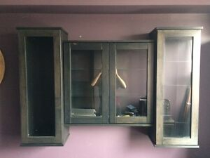 Sold Wood Shelving Unit with Glass Shelves