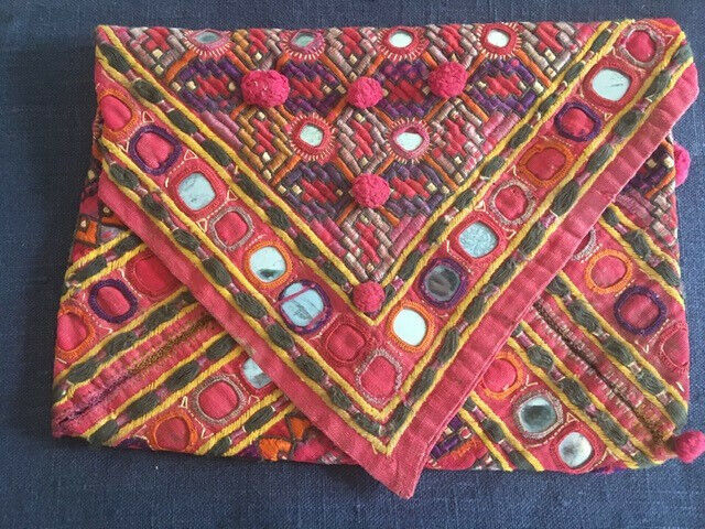 Indian vintage/antique Banjara embroidered red cotton envelope bag with mirrors