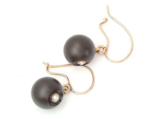 VICTORIAN SOLID 14K GOLD  MOURNING BLACK ONYX BALL SEED PEARL EARRINGS