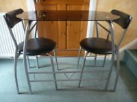 Small Black Glass Table & 2 Chairs