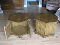Set of wooden end tables