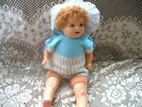 "18"" CUTEST EVER 1930S UNMARKED LAMBY WIG MAMA DOLL,TEETH"
