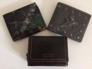 THREE HANDY WALLETS: LEATHER, HALLOWEEN AND CAMOUFLAGE STYLE