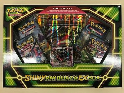 Pokemon TCG BOX Shiny Rayquaza EX Sealed OVP Englisch 4 Booster Oversized Card