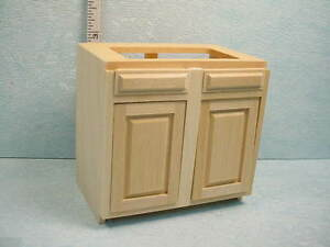 Dollhouse Miniature Kitchen Cabinet Base 3 Unfinished 14403
