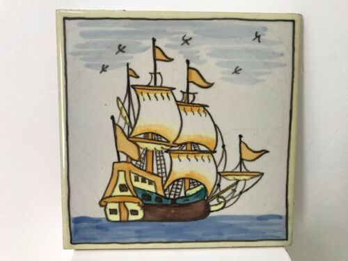Vintage Hand Painted Colombian Sailing ship tile
